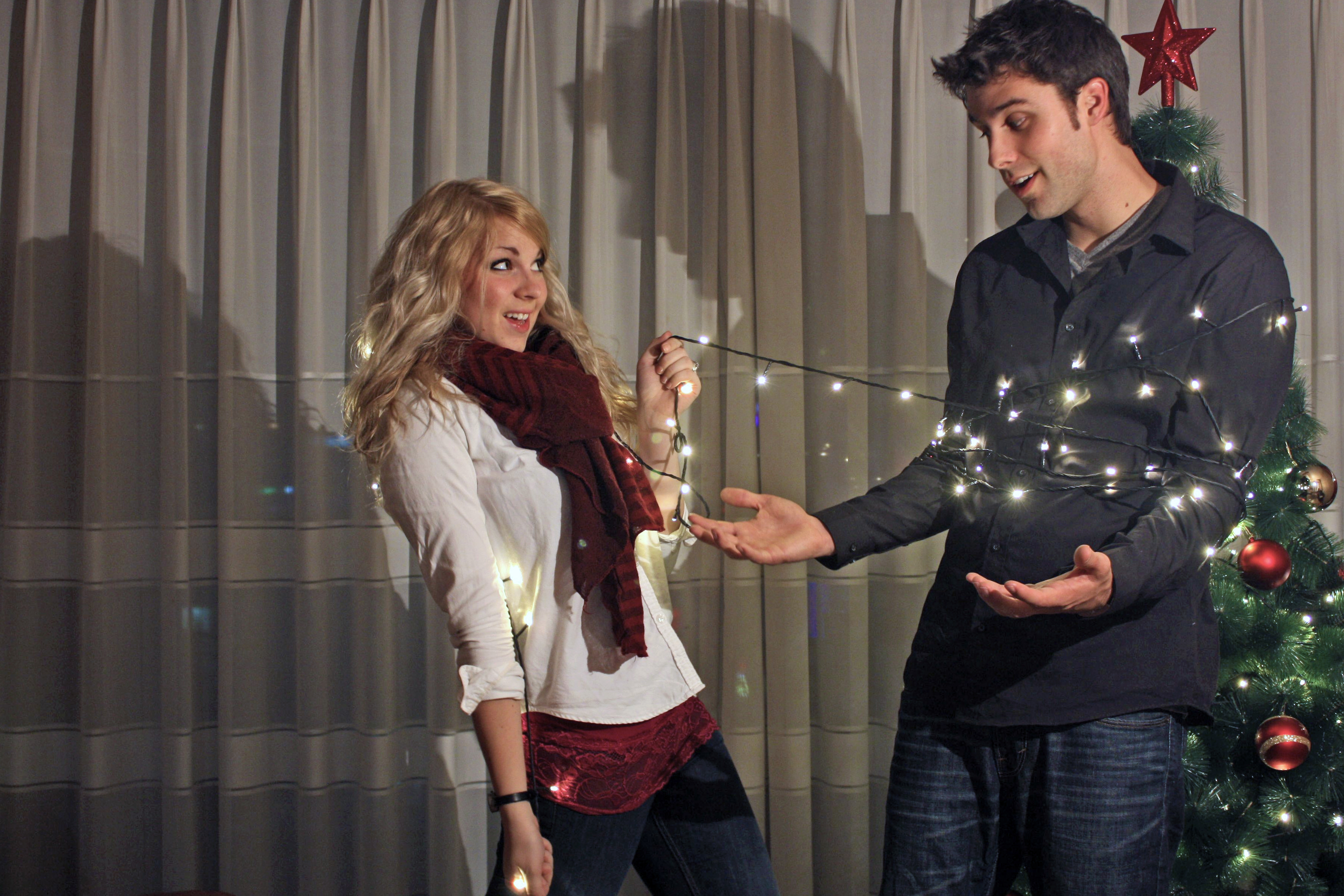 DIY Holiday Photo shoot using a tripod, self timer, and a little ingenuity